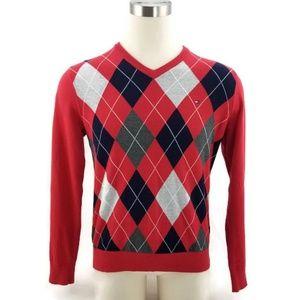 Tommy Hilfiger Argyle V-Neck Pullover Sweater